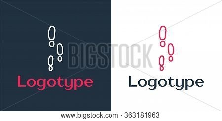 Logotype Line Footsteps Icon Isolated On White Background. Detective Is Investigating. To Follow In