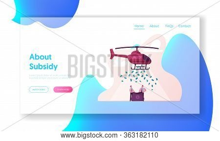 Subsidy, Governmental Help To Small Business Landing Page Template. Businessmen Characters Hold Sack