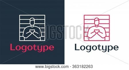 Logotype Line Suspect Criminal Icon Isolated On White Background. The Criminal In Prison, Suspected
