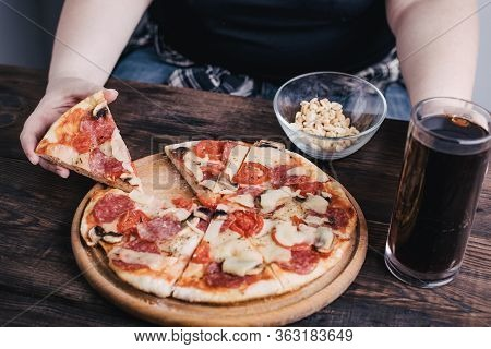 Nerve Food, Addiction, Eating Disorders, Bulimia. Overweight Woman Eating Pizza And Drink Beer. Food
