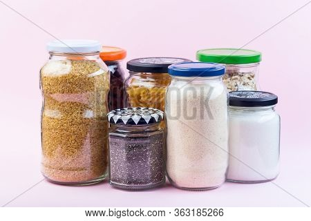Different Food In Reused Glass Jars, Zero Waste Plastic  Free Concept
