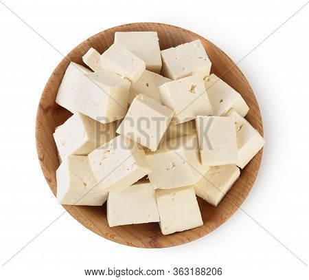 Tofu Cheese In Wooden Bowl Isolated On White Background With Clipping Path And Full Depth Of Field,