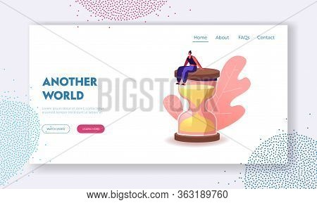 Female Character In Escape Room Conundrum Landing Page Template. Woman Sit On Huge Hourglass, Time M