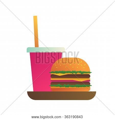 Burger Menu With Hamburger And Soda Drink Icon. Street Food Lunch And Take Away Fast Food Menu. Deli