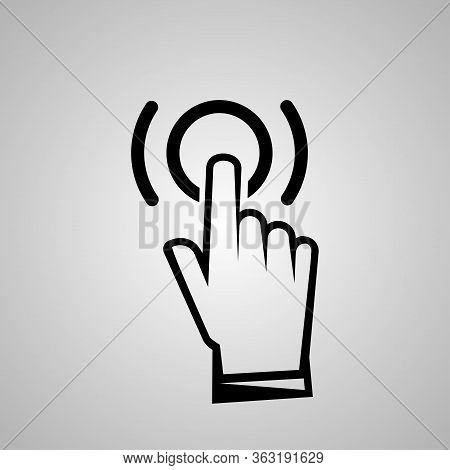 Black Hand Click Icon In Trendy Outline Flat Style Design. Vector Graphic Illustration Isolation On