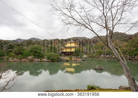 Photograph Of The Temple Of The Golden Pavilion Of Kyoto