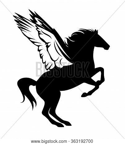 Mythical Pegasus Rearing Up - Side View Winged Horse Black And White Vector Silhouette Outline