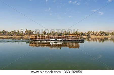 Large Luxury Traditional Egyptian River Cruise Boat Sailing On The Nile
