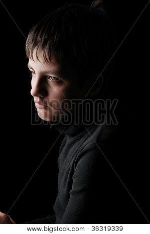 Sad Teenage Boy In Black, Low Key