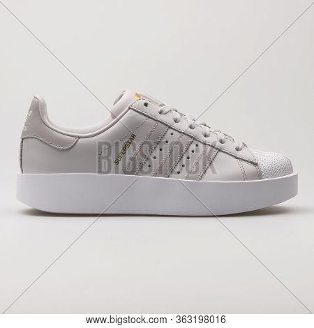 Vienna, Austria - February 19, 2018: Adidas Superstar Bold Grey And White Sneaker On White Backgroun