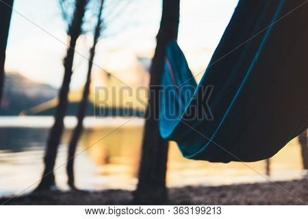 Hammock For Relaxing On Background Of Nature Lake, Chilling Outdoor, Traveler Recreation Landscape;