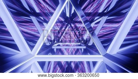 Abstract Fashion Background, Blue Pink Neon Triangular Portal, Glowing Lines, Tunnel, Corridor, Virt