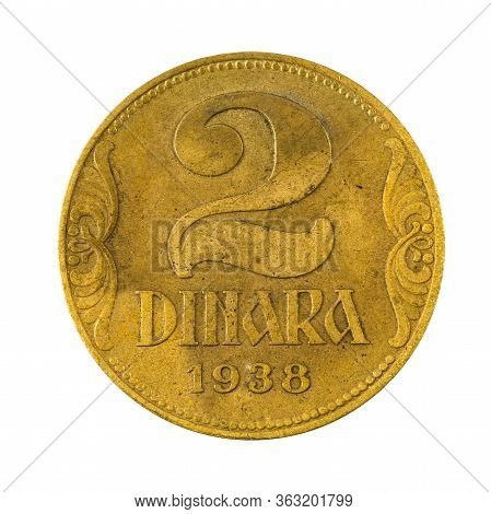 2 Yugoslav Dinar Coin (1938) Obverse Isolated On White Background