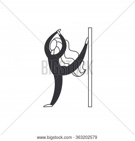 Flexible Woman Stretching Isolated On White Background. Stylized Woman With Long Hair Doing Stretchi