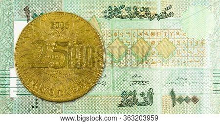 250 Lebanese Pound Coin Against 1000 Lebanese Pound Bank Note Obverse