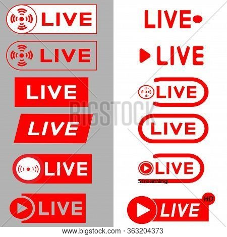 Live Streaming Icons. Red Symbols And Buttons Of Live Streaming, Broadcasting, Online Stream, Isolat