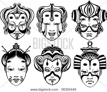 Japanese Tsure Noh Theatrical Masks