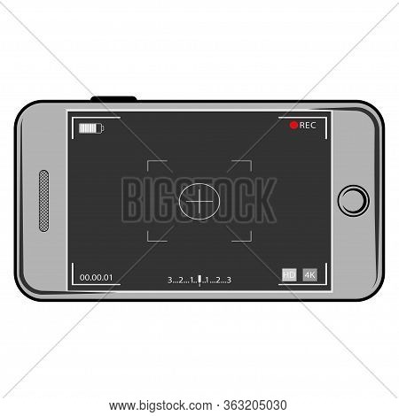 Camera Screen Phone Mobile Interface App. Flat Modern Smartphone With Camera Application. User Inter
