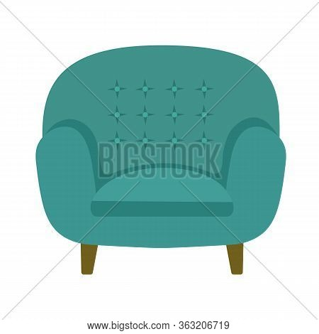 Vector Illustration Of Modern Soft Upholstered Armchair From Turquoise Velvet Fabric With Button-tuf