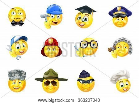 A Set Of Emoji Emoticon Cartoon Character Face Icons Of Different Jobs Of Work Or Occupations