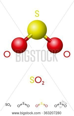 Sulfur Dioxide, So2, Molecule Model And Chemical Formula. Sulfurous Anhydride, A Toxic Gas And An Ai
