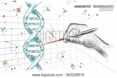 Dna 3d Structure Editing Medicine Concept. Low Poly Polygonal Triangle Gene Therapy Cure Genetic Dis