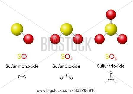 Three Sulfur Oxides, Molecule Models And Chemical Formulas. Sulfur Monoxide, Dioxide And Trioxide, S