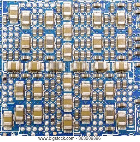 Macro Photography Of Many Electronic Miniature Components Of A Personal Computer Motherboard