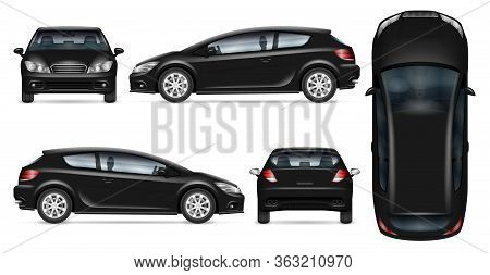 Black Hatchback Car Vector Mockup On White For Vehicle Branding, Corporate Identity. View From Side,