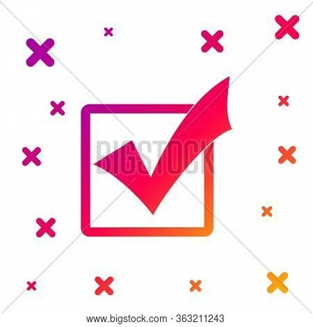 Color Check Mark In A Box Icon Isolated On White Background. Tick Symbol. Check List Button Sign. Gr