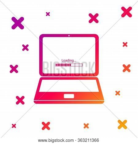 Color Laptop Update Process With Loading Bar Icon Isolated On White Background. System Software Upda