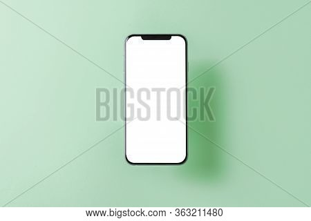Smartphone Mockup. New Black Frameless Hovering Smartphone With White Screen. Isolated On Color Back
