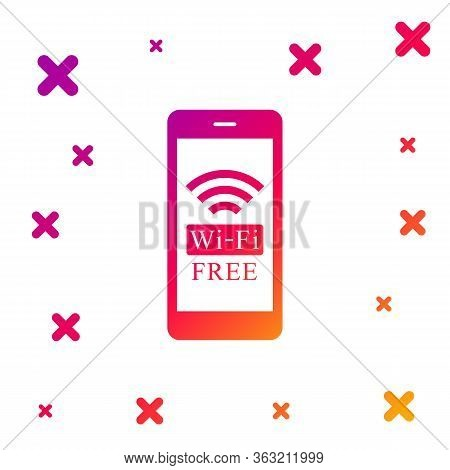 Color Smartphone With Free Wi-fi Wireless Connection Icon On White Background. Wireless Technology,
