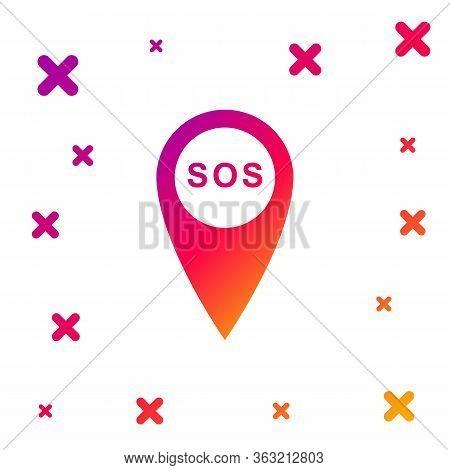 Color Marker Location With Sos Icon Isolated On White Background. Sos Call Location Marker. Map Poin