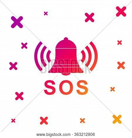 Color Alarm Bell And Sos Lettering Icon Isolated On White Background. Warning Bell, Help Sign. Emerg