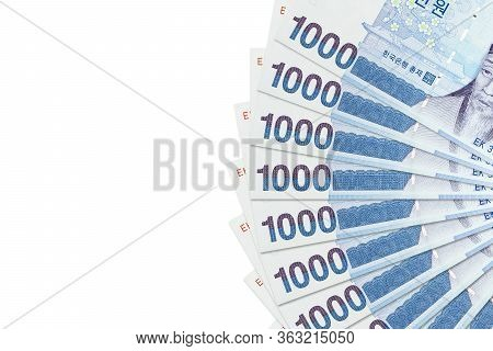 Some 1000 South Korean Won Banknotes Indicating Economics With Copy Space