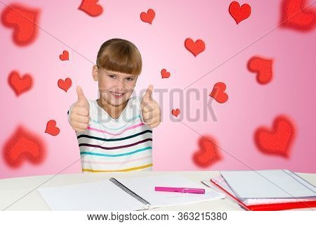 People, Children And School Concept - Little Student Girl Showing Thumbs Up Over Pink Background And