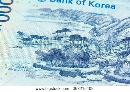 Detail Of A 1000 South Korean Won Bank Note Reverse