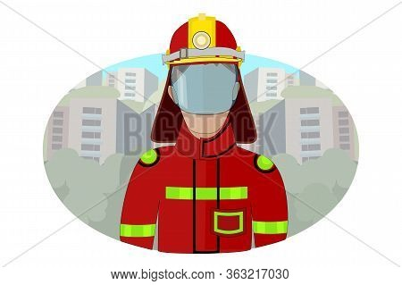 Fireman Isolated On White Background. Icon Of Man In Firefighter Uniform In Flat Style. Colorful Pos
