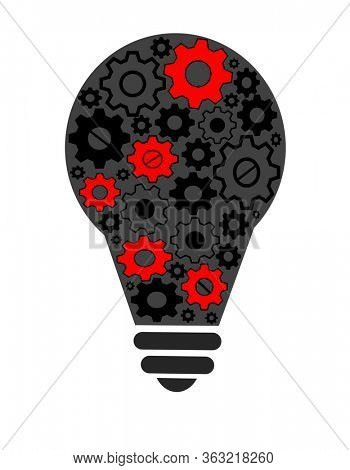 Bulb and gears, conceptual of ideas and execution