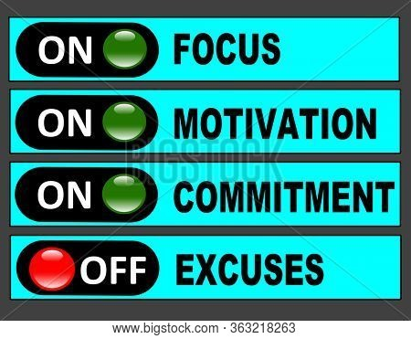 Switch board for focus, motivation, commitment and excuses