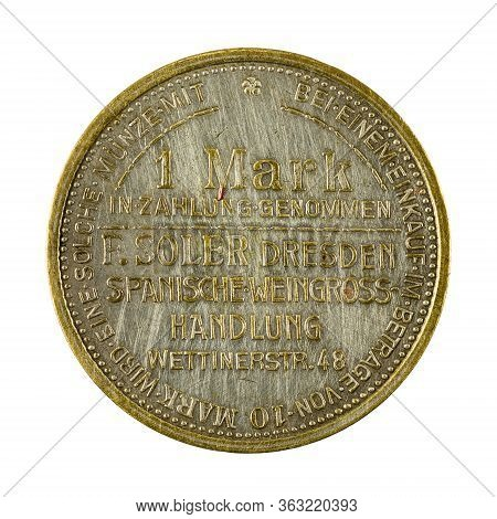 Historical German Token For Inpayment Obverse Isolated On White Background