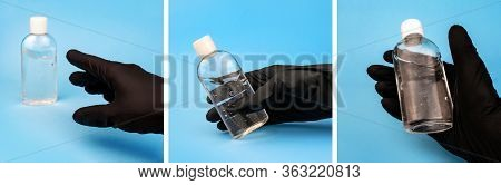 Hand In Black Latex Glove Reaches, Catch And Hold Sanitizer On Blue. Three Square Pictures Collage C
