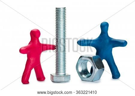 Plasticine small people advertise fasteners isolated on white