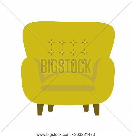Vector Illustration Of Modern Soft Upholstered Armchair From Mustard Yellow Velvet Fabric With Butto