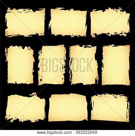 Isolated Sheet Set Of Antique Or Old Paper Template. Horizontal And Vertical Blank Ancient Manuscrip
