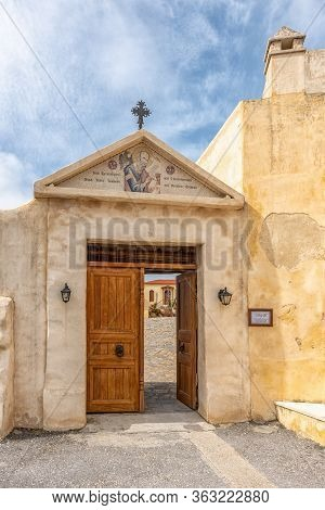 Rethymno ,crete, Greece - March 07, 2020: View Of Preveli Monastery Courtyard With The Church Of Sai