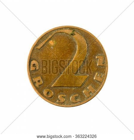 2 Austrian Groschen Coin (1926) Obverse Isolated On White Background