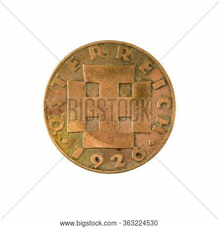 2 Austrian Groschen Coin (1926) Reverse Isolated On White Background