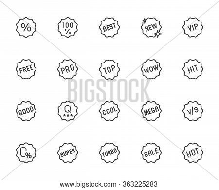 Premium Icons Pack On Badges And Label For Promotions, Promo Offer. Such Line Signs As Best, New, Vi